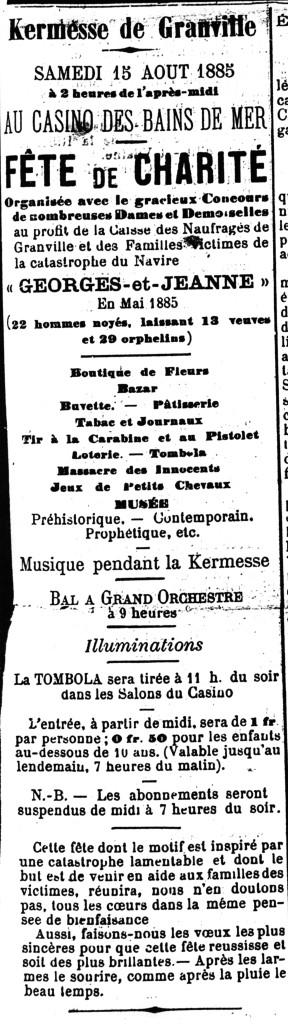 Fête de Charité pour les naufragés en mer, paru dans Le Granvillais du dimanche 16 Août 1885